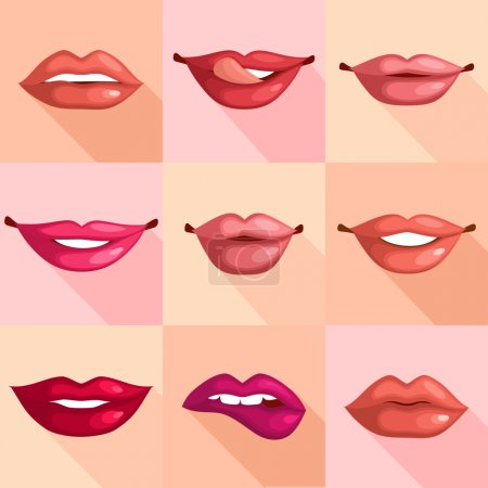 Illustration for Set of mouth smile red sexy woman lips in flat style vector illustration - Royalty Free Image