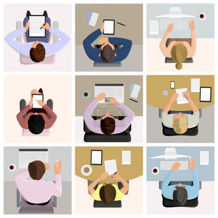 Illustration for Set of business office worker people on job at the table with laptop computer coffee icons vector illustration - Royalty Free Image