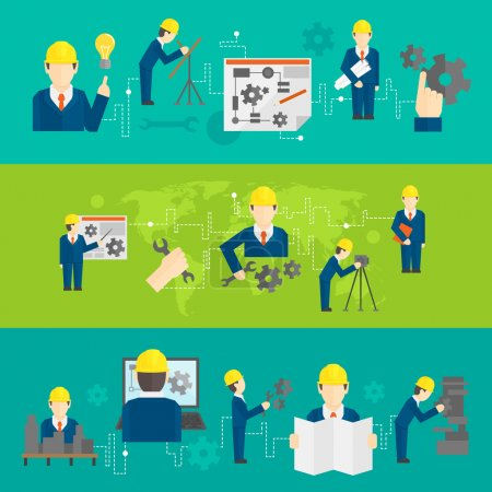 Illustration for Civil professional mechanical science engineering concept flat business icons set of manufacturing management worker for line banners design vector illustration - Royalty Free Image