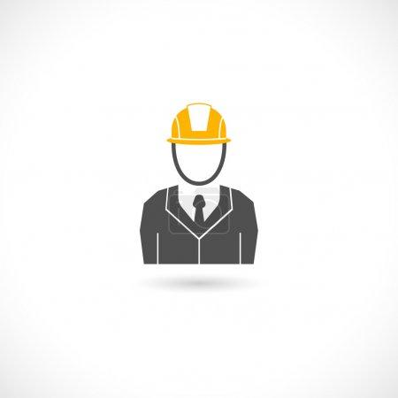 Illustration pour Ingénieur constructeur travailleur en chapeau de casque orange icône isolée illustration vectorielle - image libre de droit