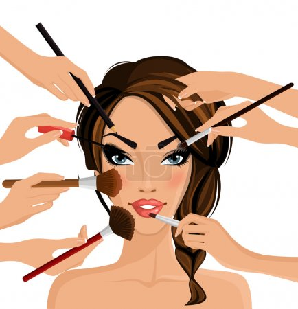 Many hands with cosmetics brush doing make up of g...