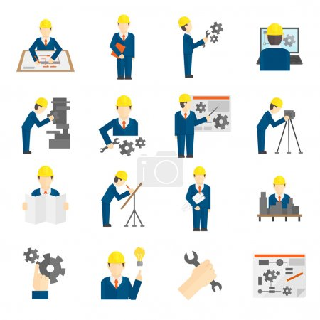 Photo for Set of construction industry engineer workers icons in flat style for profession science user computer interface vector illustration - Royalty Free Image