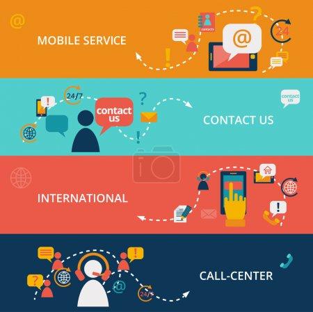 Ilustración de Conjunto de contacto nosotros llamada centro negocios chat comunicación banners vector illustration - Imagen libre de derechos