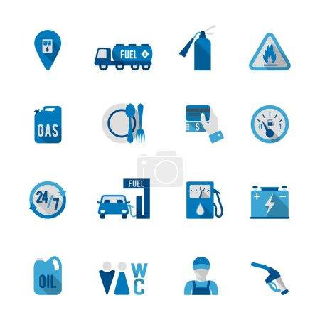 Illustration pour Ensemble d'icône de service d'essence automobile de station-service en illustration vectorielle de couleur bleue et grise - image libre de droit