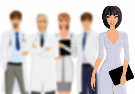 Illustration for Smiling female doctor with tablet pc and medical staff team isolated on white background vector illustration - Royalty Free Image