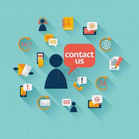 Ilustración de Éntrenos en contacto con fondo con dirección llamada centro cliente servicio iconos vector illustration - Imagen libre de derechos