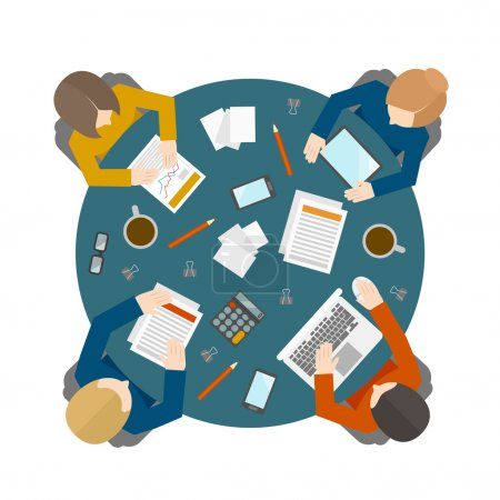 Illustration for Flat style office workers business managment meeting and brainstorming on the round table in top view vector illustration - Royalty Free Image