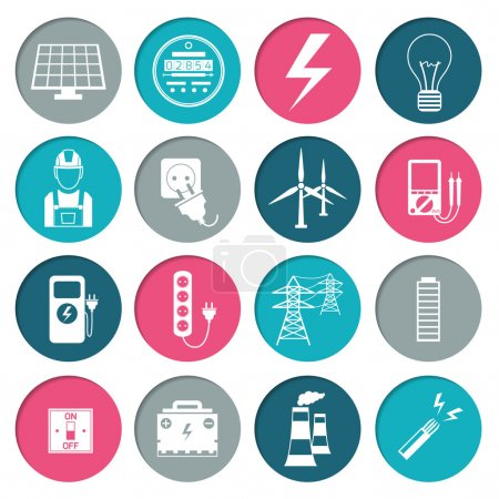 Electricity power icons set