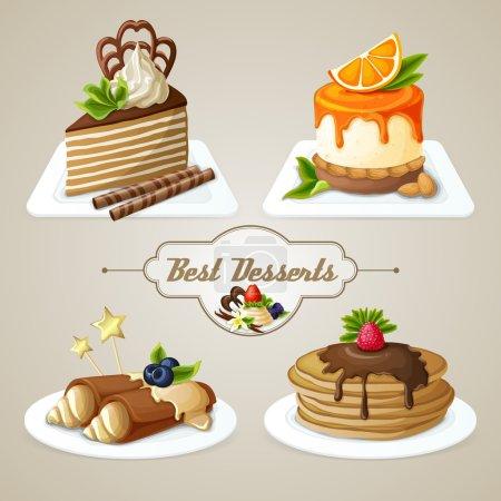 Illustration pour Bonbons décoratifs meilleur ensemble de desserts de crêpes gâteau au fromage en couches avec illustration vectorielle de sirop - image libre de droit