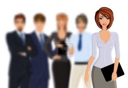 Illustration pour Groupe de gens d'affaires busines femme avec équipe d'affaires isolé sur l'illustration vectorielle blanche - image libre de droit