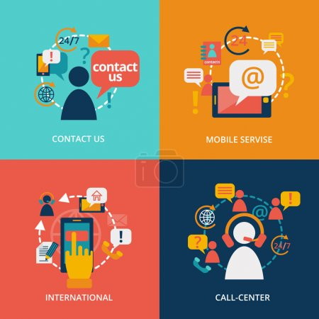 Illustration for Contact us concept flat business icons set of address call center customer service for infographics design web elements vector illustration - Royalty Free Image