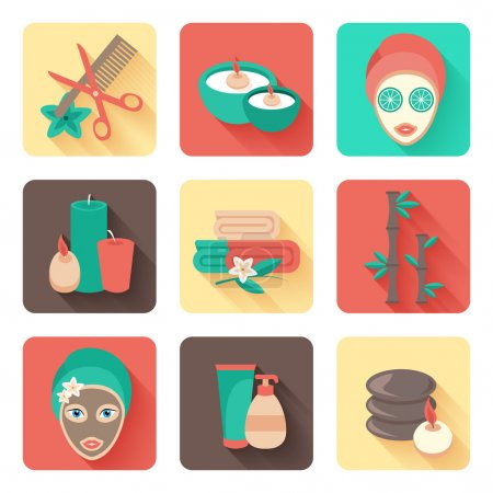 Illustration for Spa  personal facial mask and body treatments with aromatherapy flat solid pictograms collection abstract isolated vector illustration - Royalty Free Image