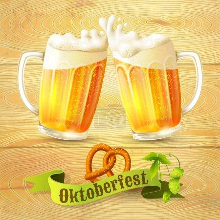 Illustration pour Tasse en verre de bretzel de bière et branche de houblon sur fond en bois Illustration vectorielle affiche Octoberfest - image libre de droit