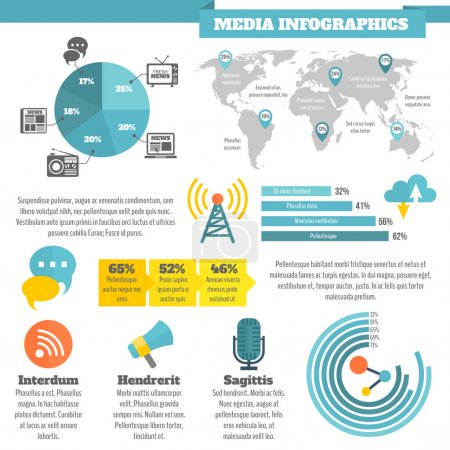 Illustration for Broadcasting media social news infographics with flat color icons vector illustration - Royalty Free Image