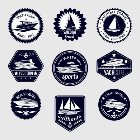 Illustration for Elite world water sport yacht club sailboat sea travel design labels set black icons isolated vector illustration - Royalty Free Image
