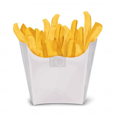 Illustration pour Fast junk food frites en paquet de papier isolé sur fond blanc illustration vectorielle. - image libre de droit