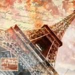Eiffel tower in Paris, digital art...