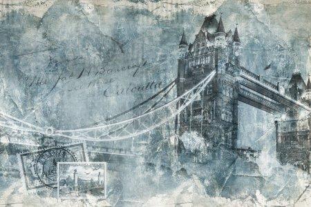 Photo pour Tower bridge Londres, art numérique, peinture texturée - image libre de droit