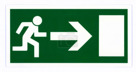 Photo for Emergency exit sign isolated on white with clipping path. - Royalty Free Image