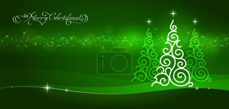 Illustration for Horizontal white ornamental christmas tree on green background - Royalty Free Image