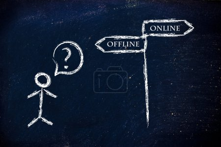 Photo pour Design humour métaphore sur tableau noir, en ligne vs hors ligne - image libre de droit