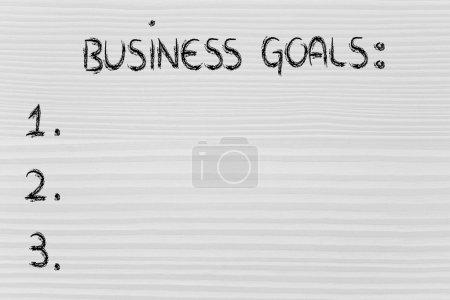 Photo pour Vide pour faire la liste des objectifs de l'entreprise - image libre de droit