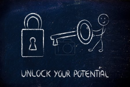 unlock your potential, funny character with key and lock