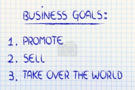 Photo pour Liste d'objectifs pour réussir en affaires : promouvoir, vendre, conquérir le monde - image libre de droit