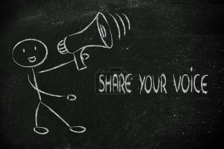 Photo pour Homme avec mégaphone, métaphore du partage et de diffusion de votre message - image libre de droit