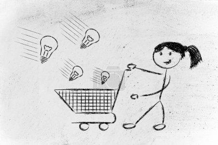 Photo pour Capital de risque - conception de métaphore sur la sélection de projets innovants et start-up à investir, personnage de fille sur fond de mur blanc - image libre de droit