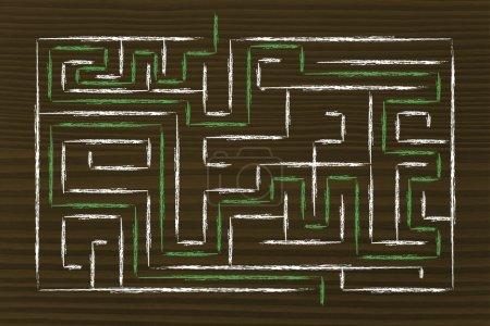 Photo pour Mission accomplie et solution trouvée : labyrinthe avec chemin terminé - image libre de droit