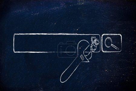 Photo pour Conception conceptuelle sur l'optimisation des moteurs de recherche avec barre de recherche et clé - image libre de droit