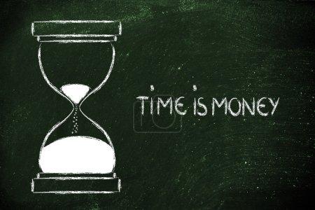 Photo pour Concept de ne pas perdre du temps : temps est argent, temps sablier - image libre de droit