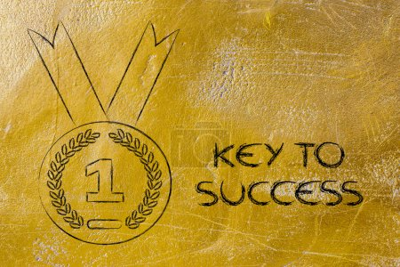 Key to success - gold medal symbol
