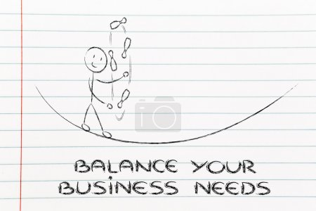 Balancing and managing your business needs: funny character juggling