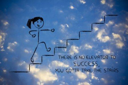 Photo pour Conception conceptuelle représentant les étapes pour atteindre le succès.Il n'y a pas d'ascenseur pour réussir, prenez les escaliers - image libre de droit
