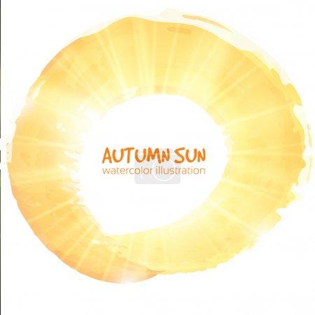 Autumn sun. Watercolor