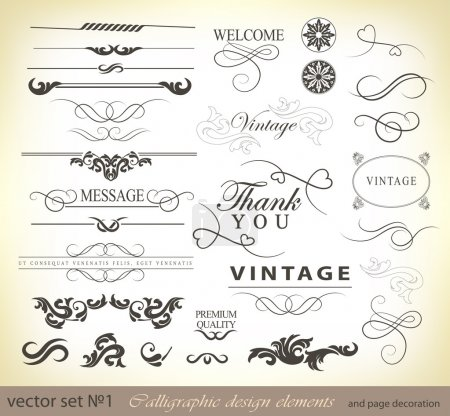 vector set: calligraphic design