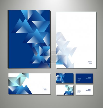 Illustration for Abstract business set. Corporate identity templates: blank, business cards, badge, envelope. . Vector illustration - Royalty Free Image