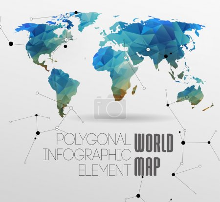 Illustration for Polygonal World Map and Information Graphics. World Map and typography - Royalty Free Image