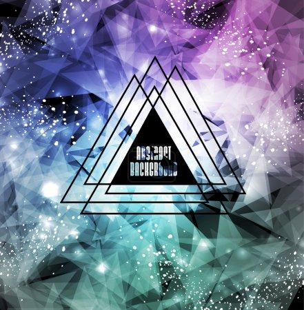 Illustration pour Fond cosmique Hipster, triangles polygonaux et fond spatial - image libre de droit
