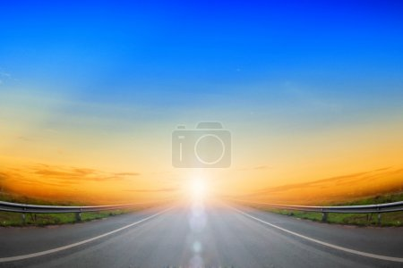 Photo for Road going up and blue sky - Royalty Free Image