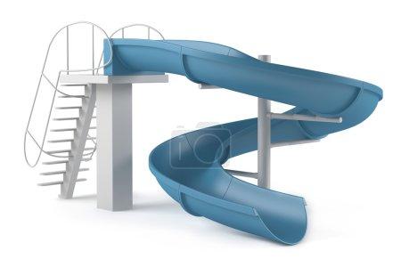 Photo pour Tube coulissant Aquapark isolé au fond blanc - image libre de droit