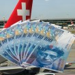 Swiss currency 100 CHF bank notes - Zurich airport...