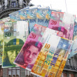 Swiss currency at a variety of bank notes -Zurich ...