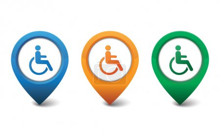 3D handicapped icon vector illustration