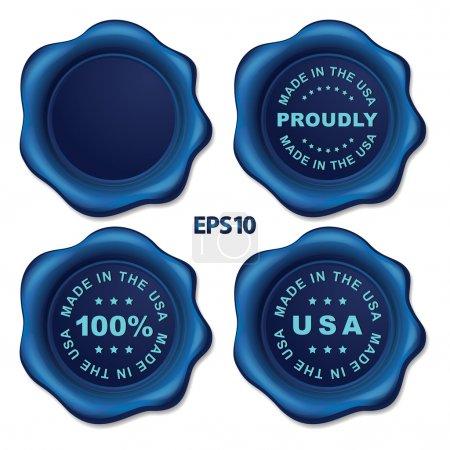 Stylish blue vector wax seal