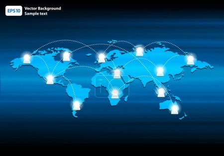 Glowing Global Network vector illustration