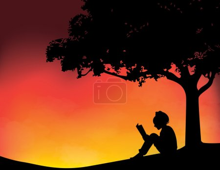 Illustration for Young girl reading in sunset background vector illustration - Royalty Free Image