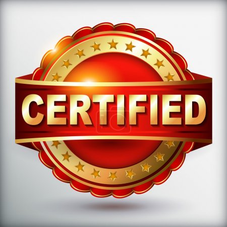 Illustration for Certified guarantee golden label with ribbon. Vector illustration. - Royalty Free Image